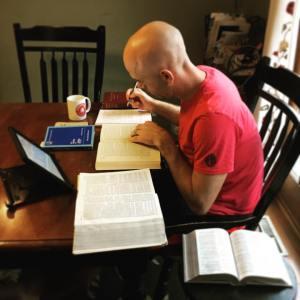 Nathan Schock preparing to teach Sunday School